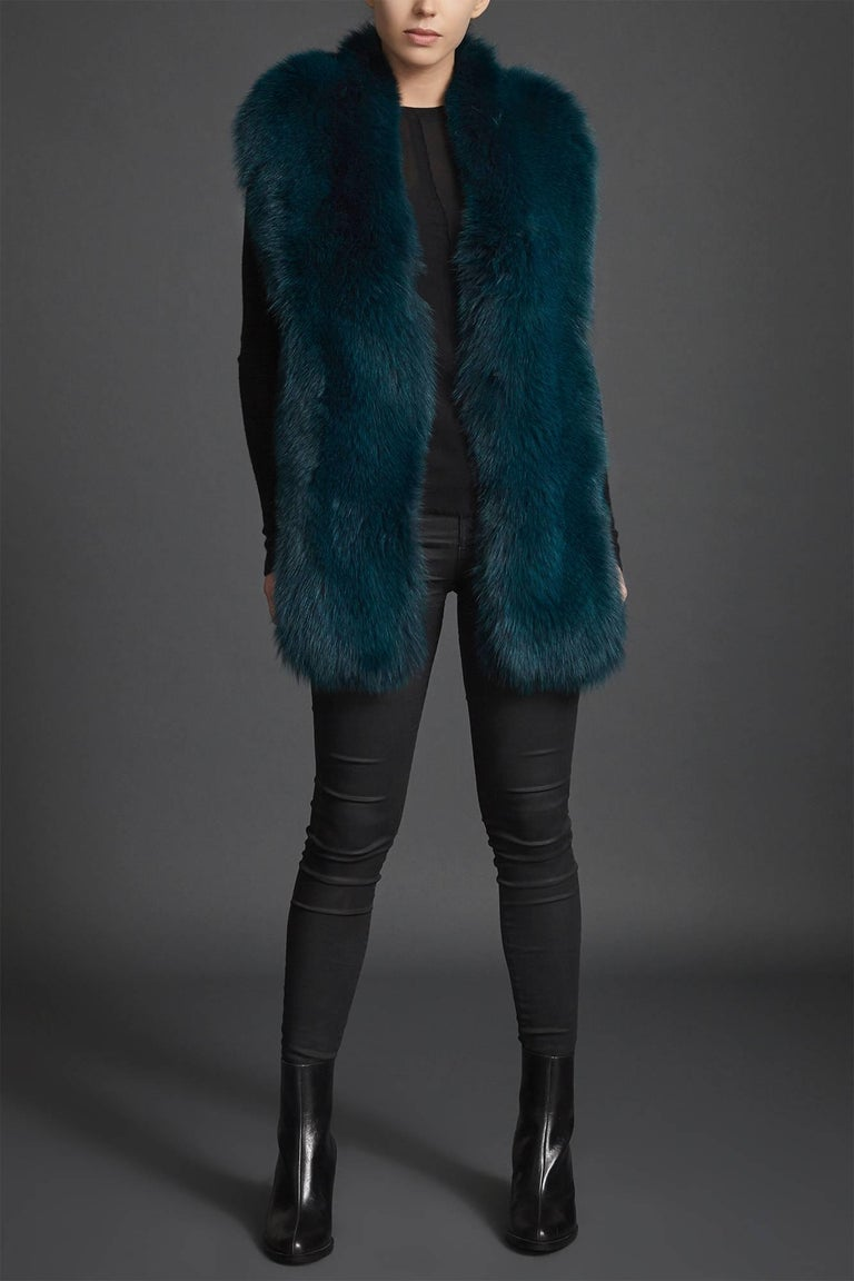 Verheyen London Legacy Stole in Jade Fox Fur & Silk Lining - Brand New  For Sale 1