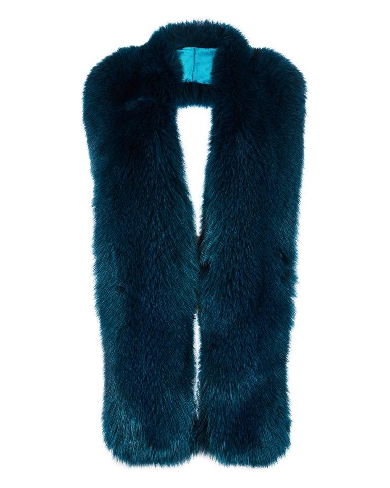 Black Verheyen London Legacy Stole in Jade Fox Fur & Silk Lining - Brand New  For Sale