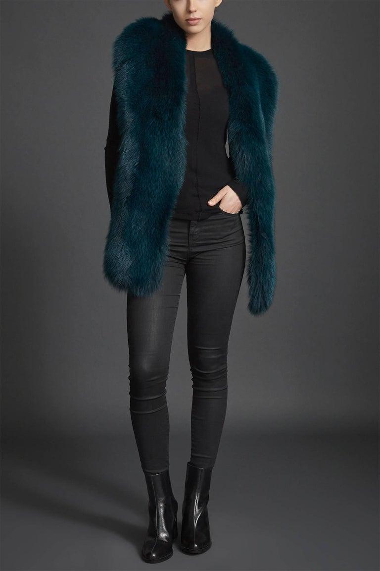 Verheyen London Legacy Stole in Jade Fox Fur & Silk Lining - Brand New  For Sale 2