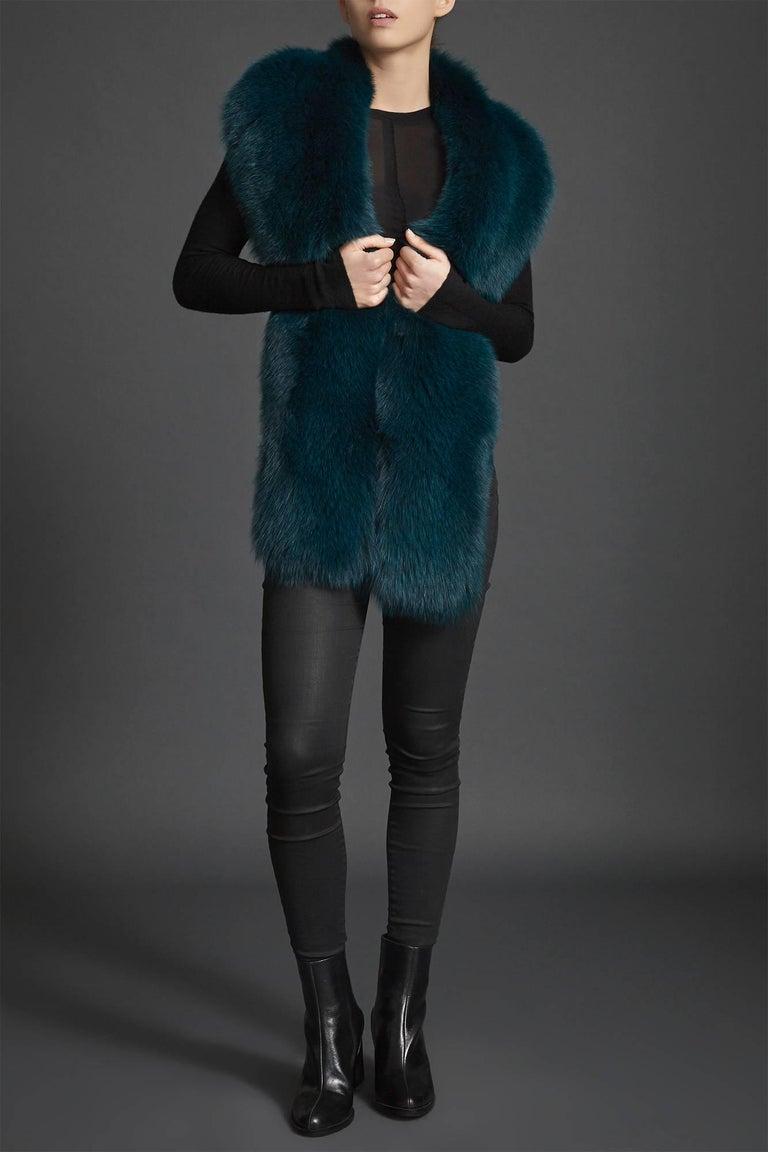 Verheyen London Legacy Stole in Jade Fox Fur & Silk Lining - Brand New  For Sale 3