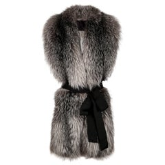 Verheyen London Legacy Stole Natural Blue Frost Fox Fur & Silk Lining -Brand New