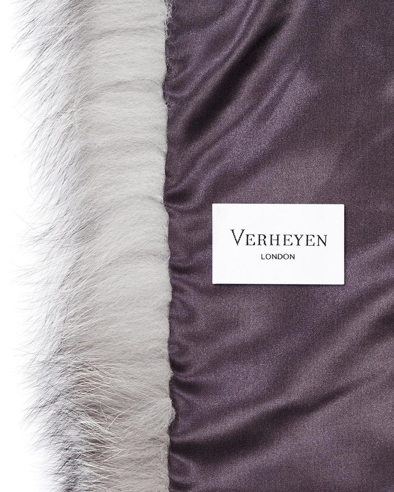 Verheyen London Legacy Stole Natural Blue Frost Fox Fur & Silk Lining  For Sale 5