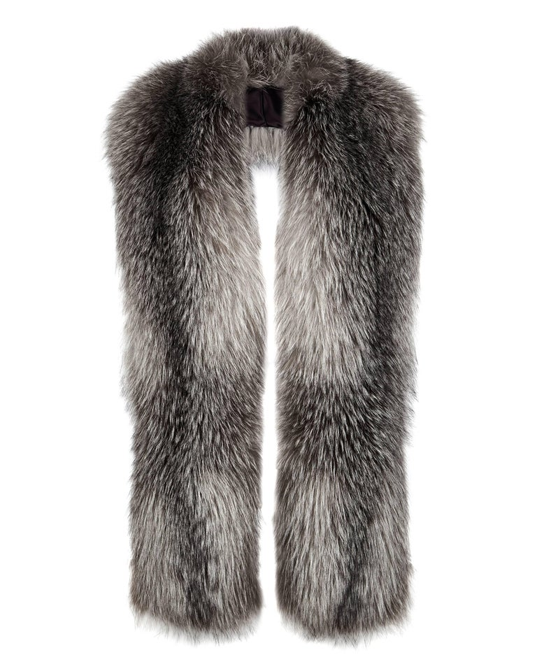 Verheyen London Legacy Stole Natural Blue Frost Fox Fur & Silk Lining  Worn in 3 ways - as a scarf, collar and statement belted collar. This Natural Collection is Verheyen London's versatile collection for country or city wear, crafted in the finest