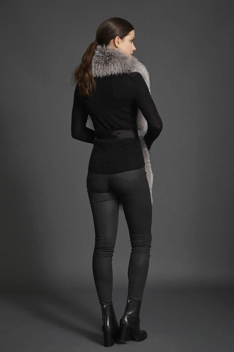 Verheyen London Legacy Stole Natural Blue Frost Fox Fur & Silk Lining  For Sale 4