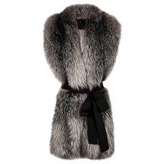 Verheyen London Legacy Stole Natural Blue Frost Fox Fur & Silk Lining
