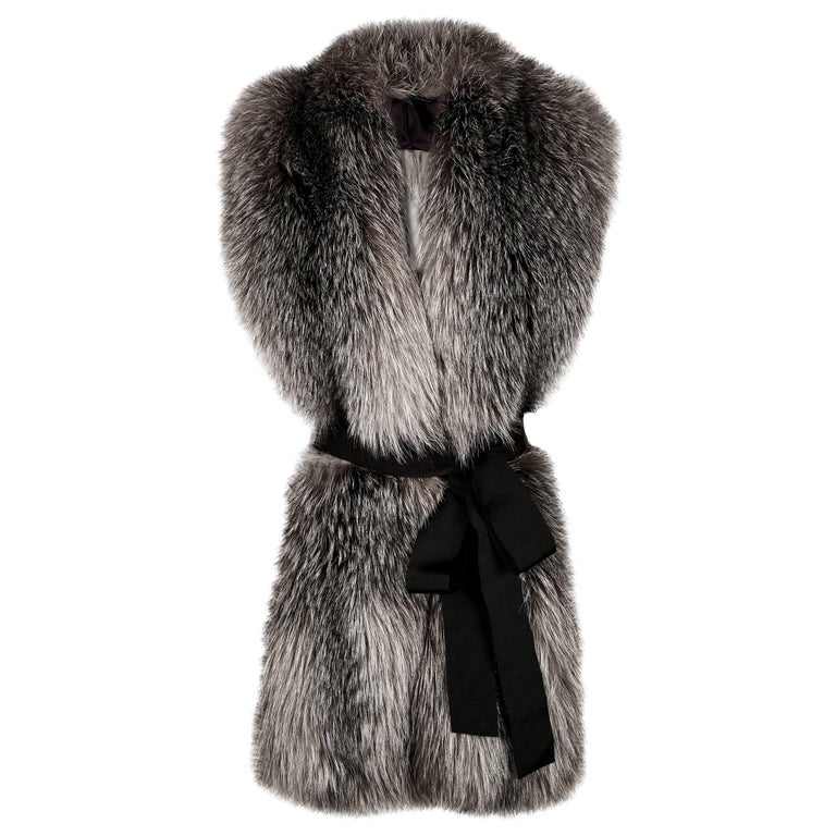 Verheyen London Legacy Stole Natural Blue Frost Fox Fur & Silk Lining  For Sale