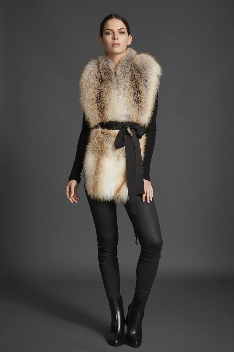 Beige Verheyen London Legacy Stole Scarf Natural Golden Island Fox Fur - Brand New