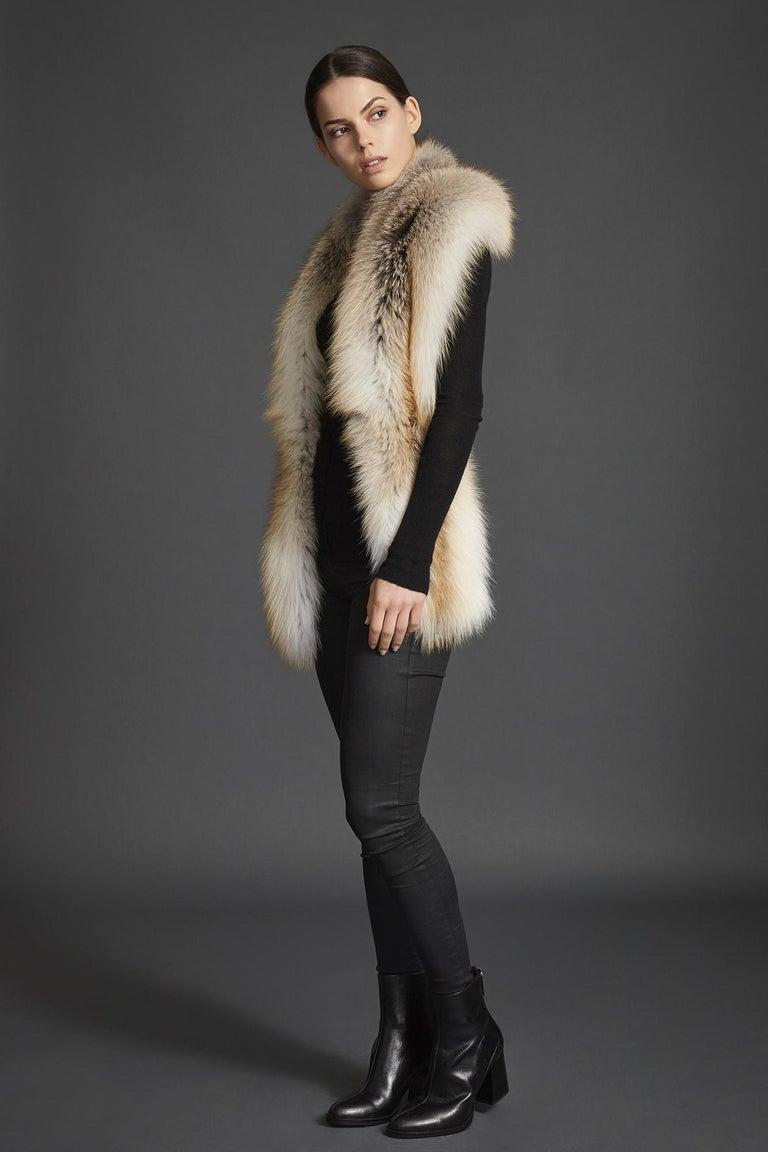 Women's Verheyen London Legacy Stole Scarf Natural Golden Island Fox Fur - Brand New