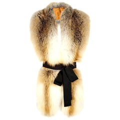 Verheyen London Legacy Stole Scarf Natural Golden Island Fox Fur - Brand New