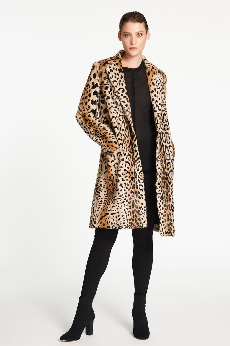 Brown Verheyen London Leopard Print Coat in Natural Goat Hair Fur UK 12 - Brand New For Sale