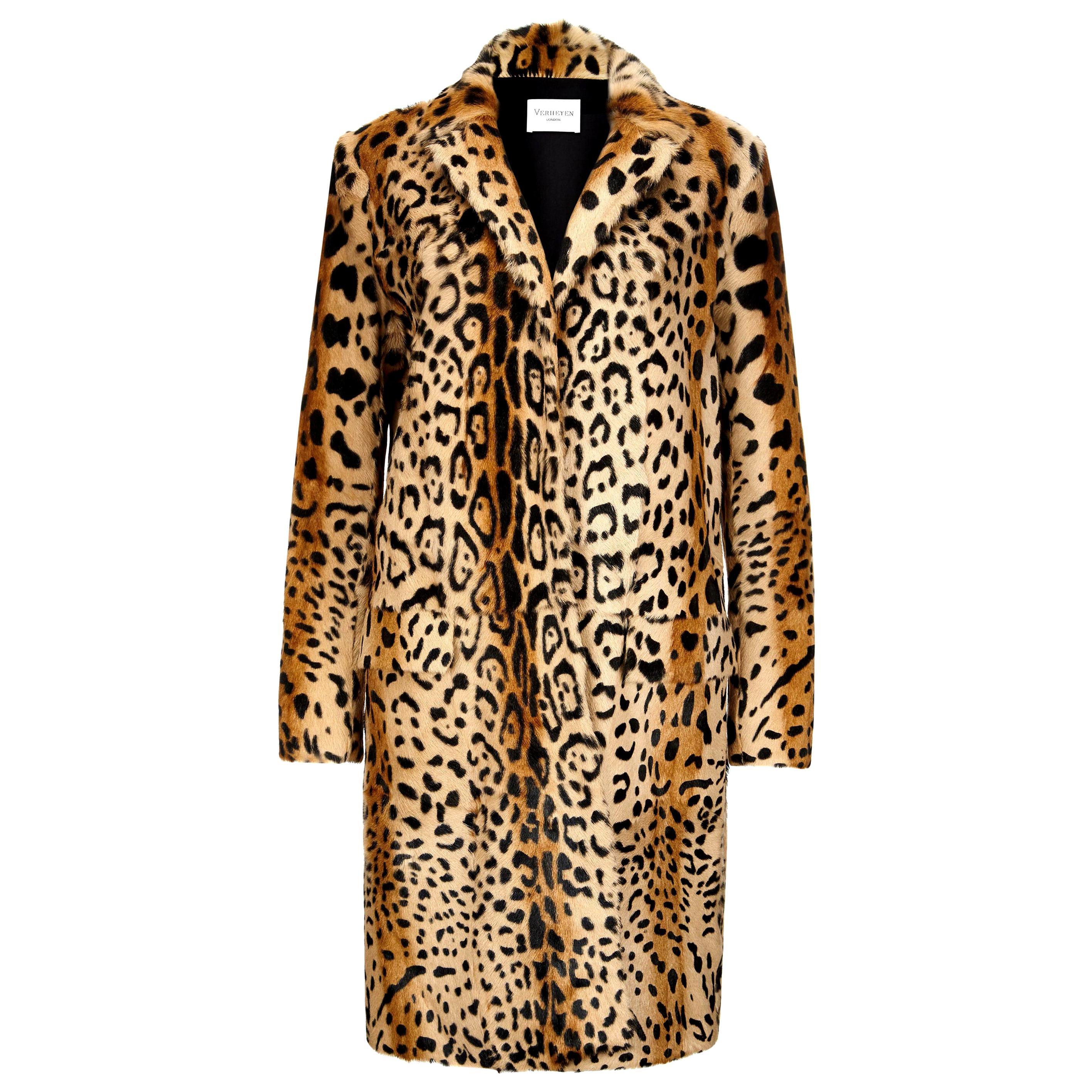 Verheyen London Leopard Print Coat in Natural Goat Hair Fur UK 12 - Brand New