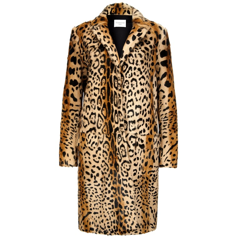 Verheyen London Leopard Print Coat in Natural Goat Hair Fur UK 12 - Brand New For Sale