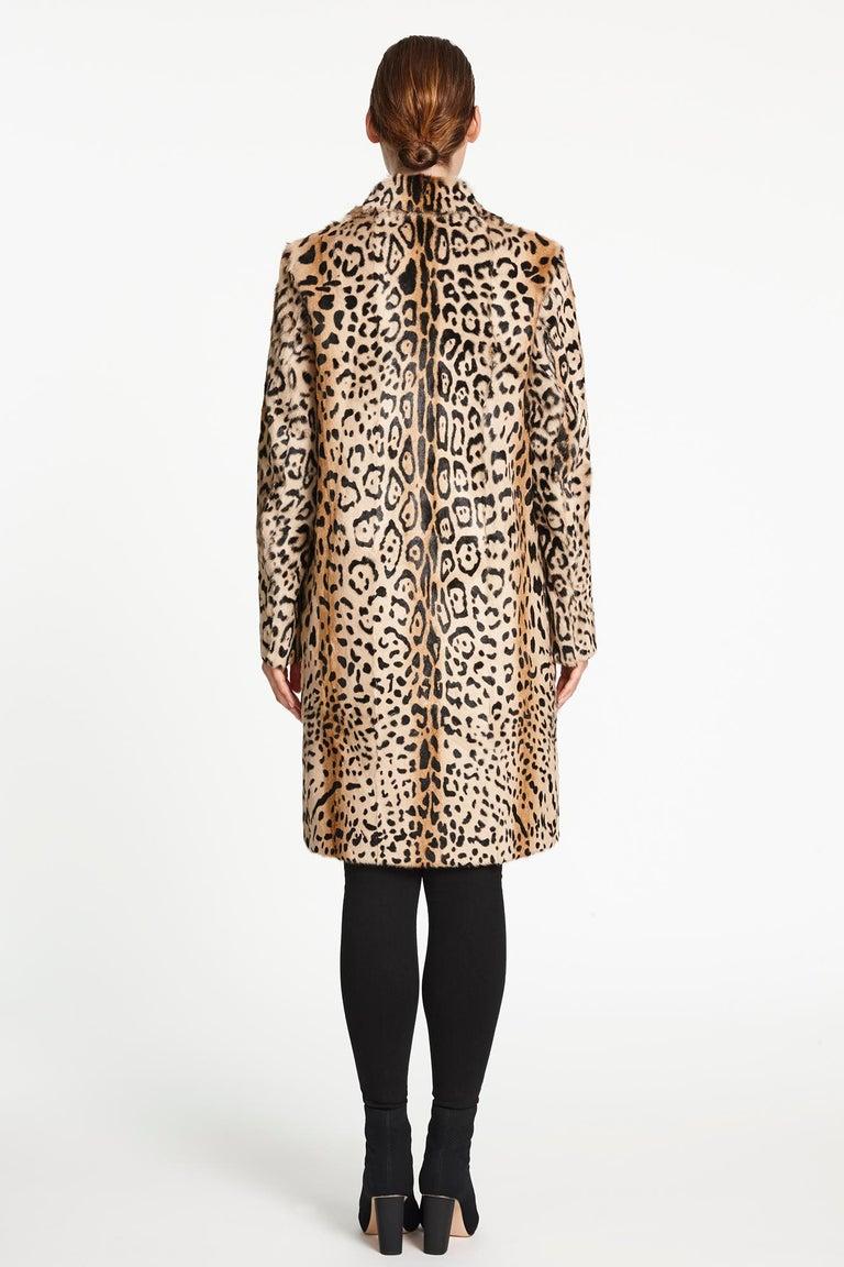 Verheyen London Leopard Print Coat in Natural Goat Hair Fur UK 12  For Sale 2
