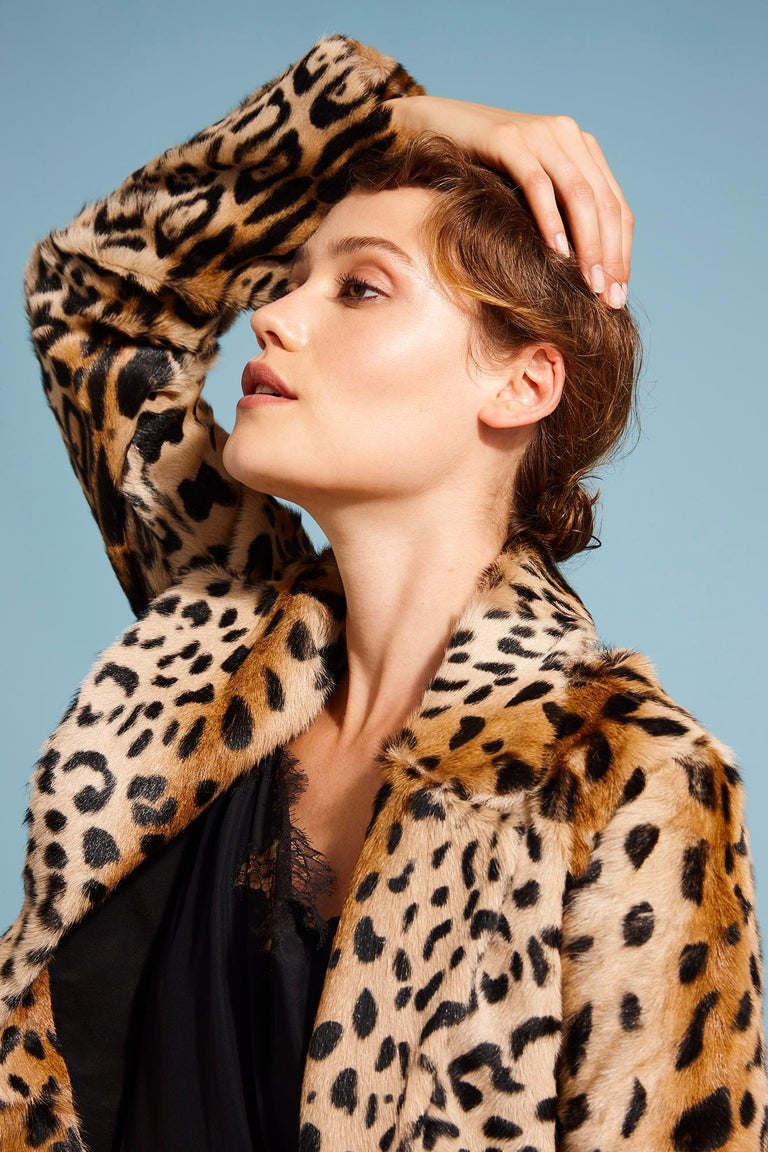 Verheyen London Leopard Print Coat in Natural Goat Hair Fur UK 12  For Sale 4