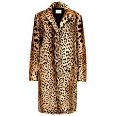 Verheyen London Leopard Print Coat in Natural Goat Hair Fur UK 12