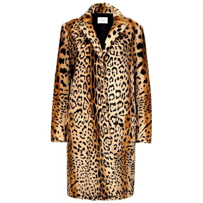 Verheyen London Leopard Print Coat in Natural Goat Hair Fur UK 12  For Sale
