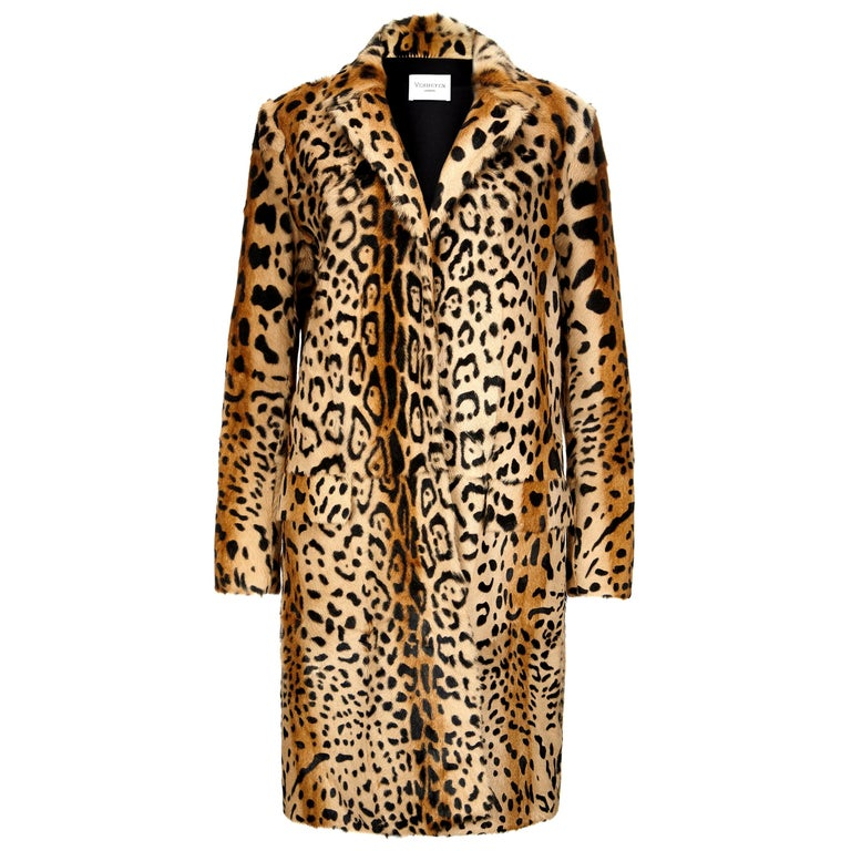 Verheyen London Leopard Print Coat in Natural Goat Hair Fur UK 6 - Brand New  For Sale