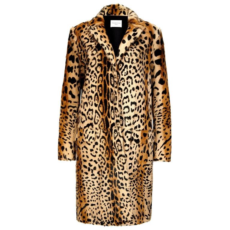 Verheyen London Leopard Print Coat in Natural Goat Hair Fur UK 8 - Brand New  For Sale
