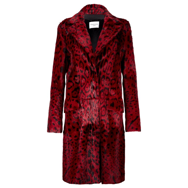Verheyen London Leopard Print Coat in Red Ruby Goat Hair Fur UK 12 - Brand New