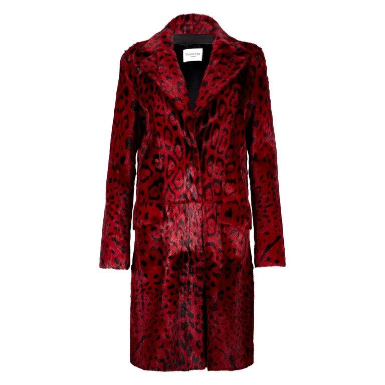 Verheyen London Leopard Print Coat in Red Ruby Goat Hair Fur UK 10 - Brand New  For Sale