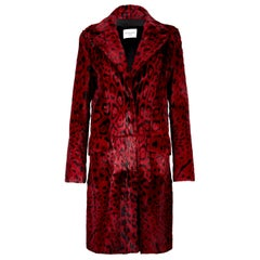 Verheyen London Leopard Print Coat in Red Ruby Goat Hair Fur UK 10 - Brand New