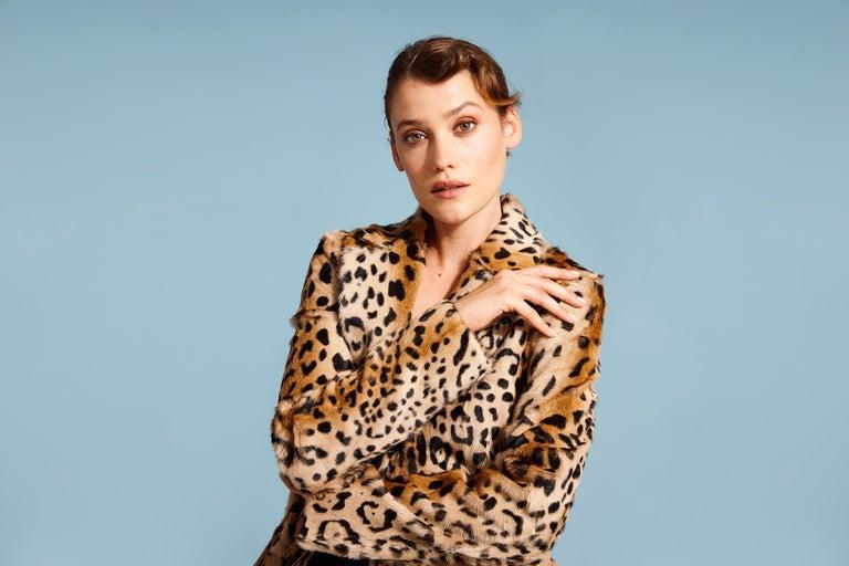 Verheyen London Leopard Print Coat in Red Ruby Goat Hair Fur UK 10  For Sale 6
