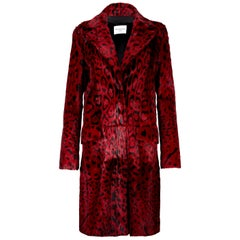 Verheyen London Leopard Print Coat in Red Ruby Goat Hair Fur UK 10