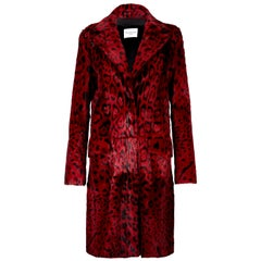 Verheyen London Leopard Print Coat in Red Ruby Goat Hair Fur UK 10