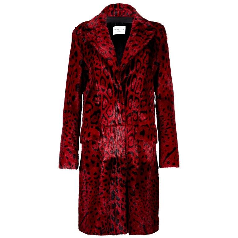 Verheyen London Leopard Print Coat in Red Ruby Goat Hair Fur UK 10  For Sale