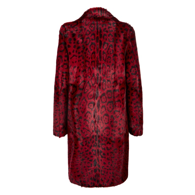 Verheyen London Leopard Print Coat in Red Ruby Goat Hair Fur UK 12  - Brand New  In New Condition For Sale In London, GB