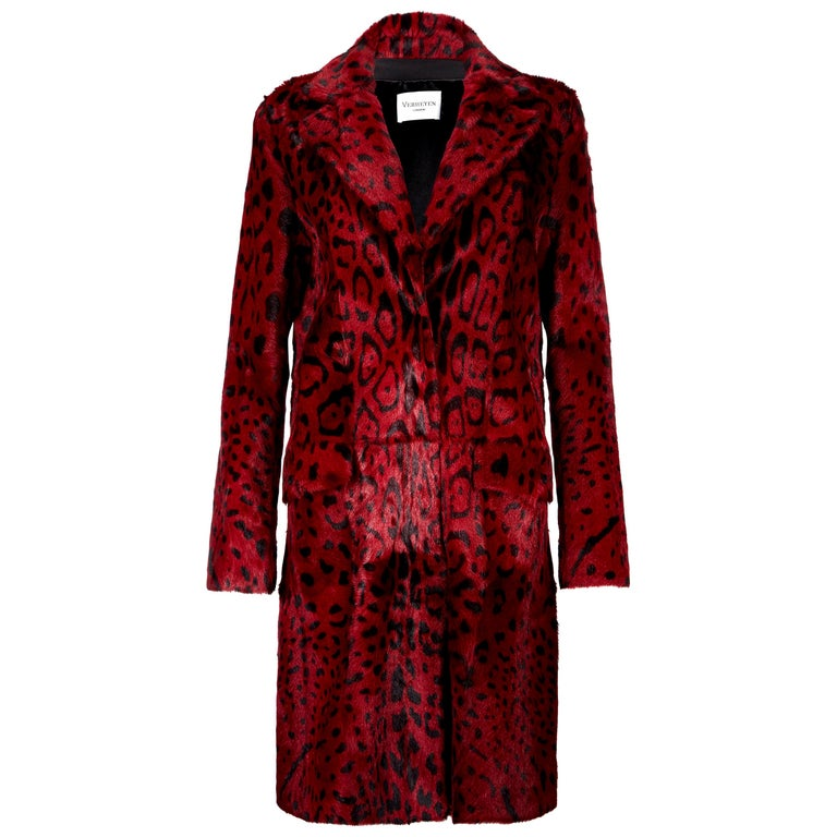 Verheyen London Leopard Print Coat in Red Ruby Goat Hair Fur UK 12  - Brand New  For Sale