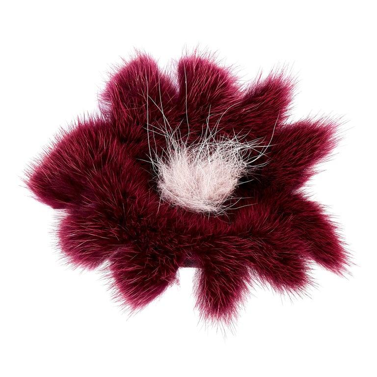 Verheyen London Mink Fur Flower Brooch in Berry Burgundy For Sale