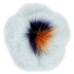 Verheyen London Mink Fur Flower Brooch in Iced Topaz Blue - Brand New