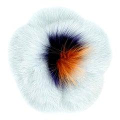 Verheyen London Mink Fur Flower Brooch in Iced Topaz Blue