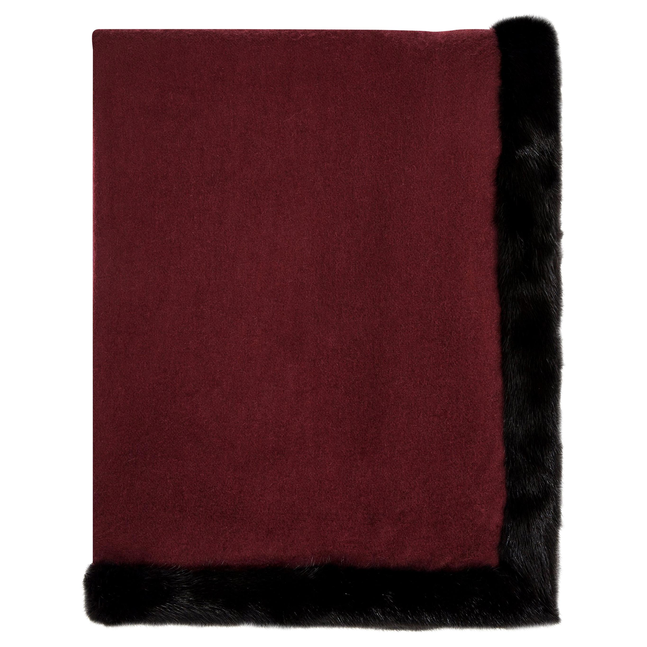Verheyen London Mink Fur Trimmed Black & Burgundy Cashmere Shawl