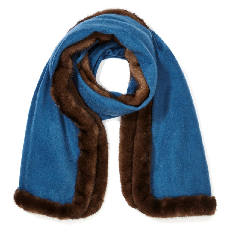 Verheyen London Mink Fur Trimmed Cashmere Scarf in Blue & Brown - Brand New   Verheyen London's shawl is spun from the finest Scottish woven cashmere and finished with the most exquisite dyed mink. Its warmth envelopes you with luxury, perfect for