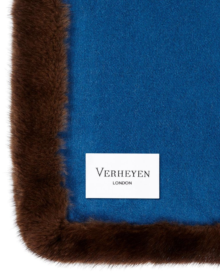 Verheyen London Mink Fur Trimmed Cashmere Scarf in Blue & Brown - Brand New  In New Condition In London, GB