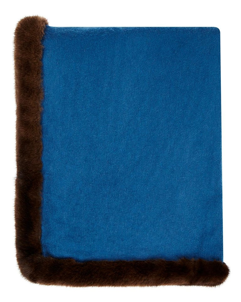 Women's or Men's Verheyen London Mink Fur Trimmed Cashmere Scarf in Blue & Brown - Brand New