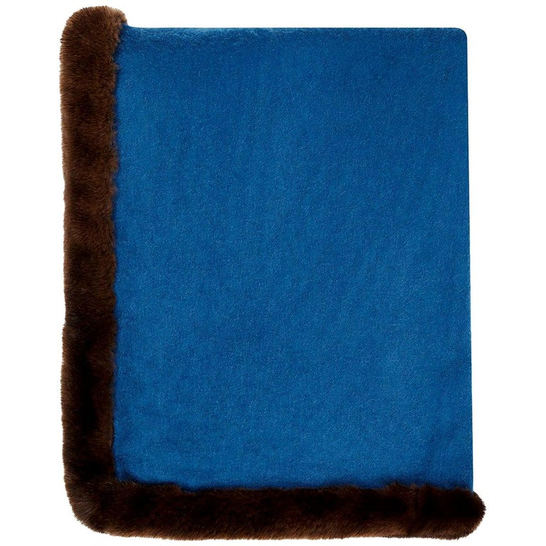 Verheyen London Mink Fur Trimmed Cashmere Scarf in Blue & Brown - Brand New