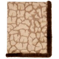 Verheyen London Mink Fur Trimmed Cashmere Scarf in Brown Leopard - Brand New