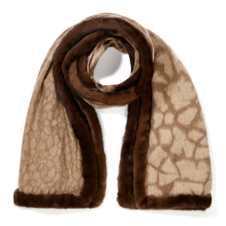 Verheyen London Mink Fur Trimmed Cashmere Scarf in Brown Leopard  In New Condition For Sale In London, GB