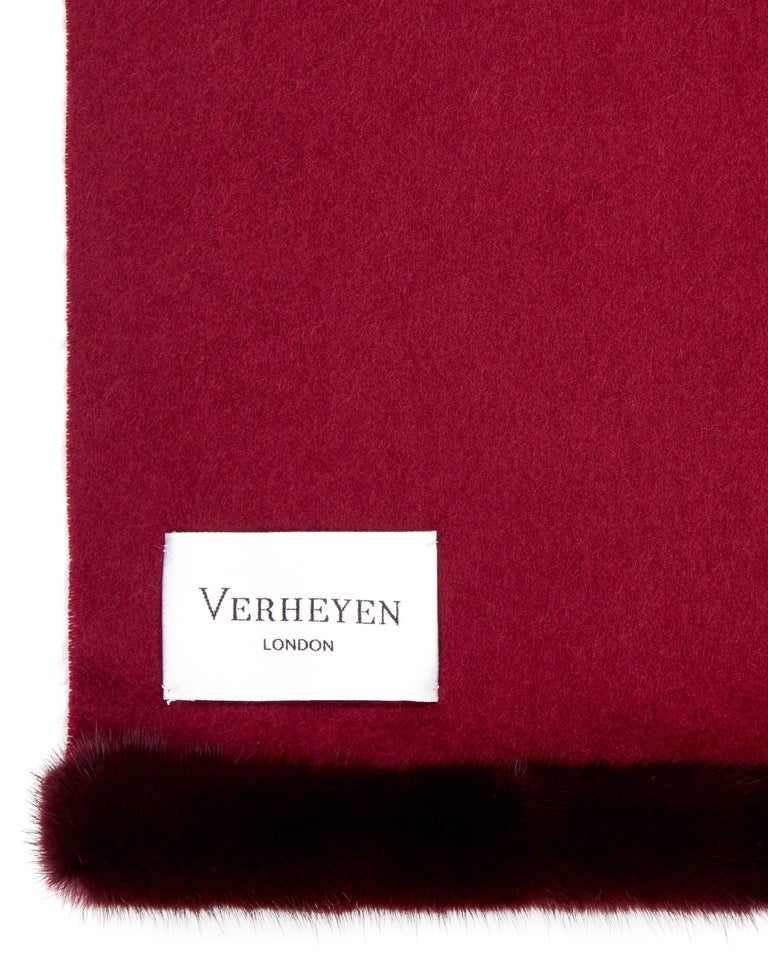 Verheyen London Mink Fur Trimmed Cashmere Scarf in Burgundy - Brand New   Verheyen London's shawl is spun from the finest Scottish woven cashmere and finished with the most exquisite dyed mink. Its warmth envelopes you with luxury, perfect for