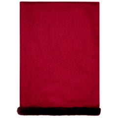 Verheyen London Mink Fur Trimmed Cashmere Scarf in Burgundy