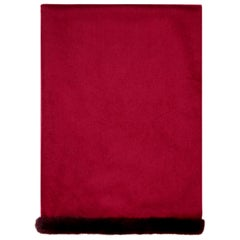 Verheyen London Mink Fur Trimmed Cashmere Scarf in Burgundy - Brand New