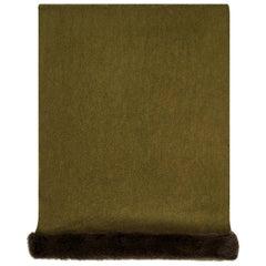 Verheyen London Mink Fur Trimmed Cashmere Scarf in Olive - Brand New