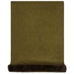 Verheyen London Mink Fur Trimmed Cashmere Scarf in Olive