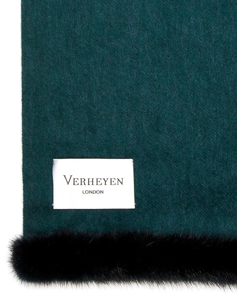 Verheyen London Mink Fur Trimmed Cashmere Shawl Scarf in Forest Green Brand New   Verheyen London's shawl is spun from the finest Scottish woven cashmere and finished with the most exquisite dyed mink. Its warmth envelopes you with luxury, perfect