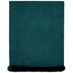 Verheyen London Mink Fur Trimmed Cashmere Shawl Scarf in Forest Green Brand New