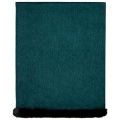 Verheyen London Mink Fur Trimmed Cashmere Shawl Scarf in Forest Green Brand New