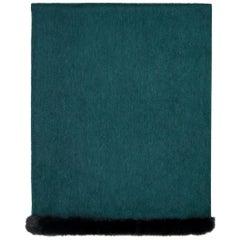 Verheyen London Mink Fur Trimmed Cashmere Shawl Scarf in Forest Green Gift